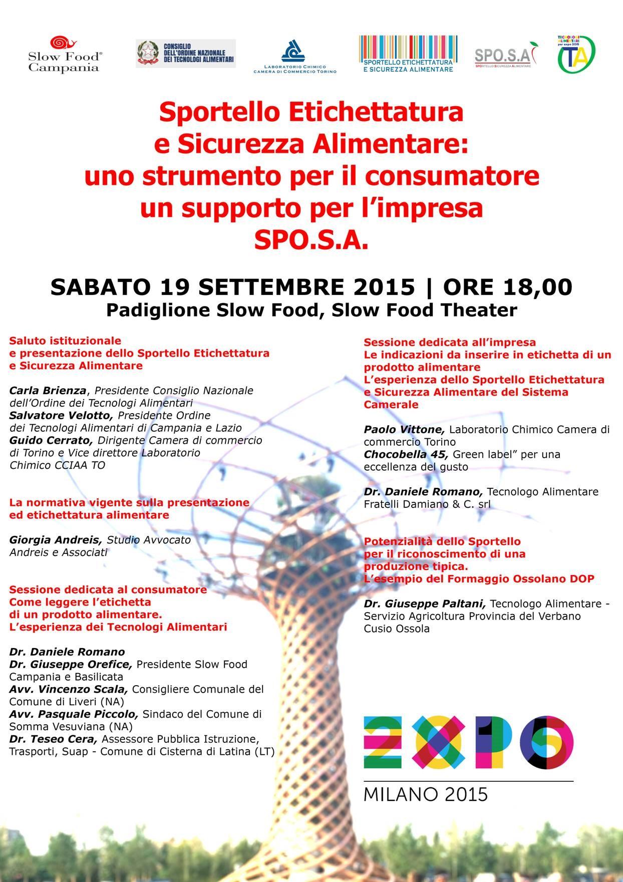 EXPO 2015 MILANO Sportello Etichettatura e Sicurezza Alimentare