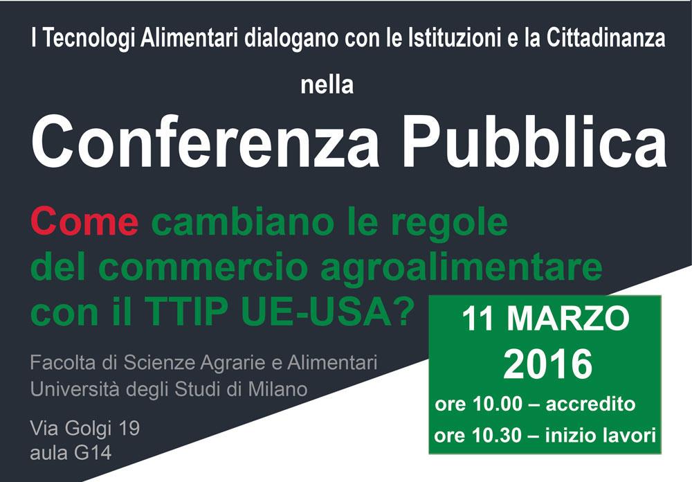 Conferenza Pubblica Come cambiano le regole del commercio agroalimentare con il TTIP UE-USA?