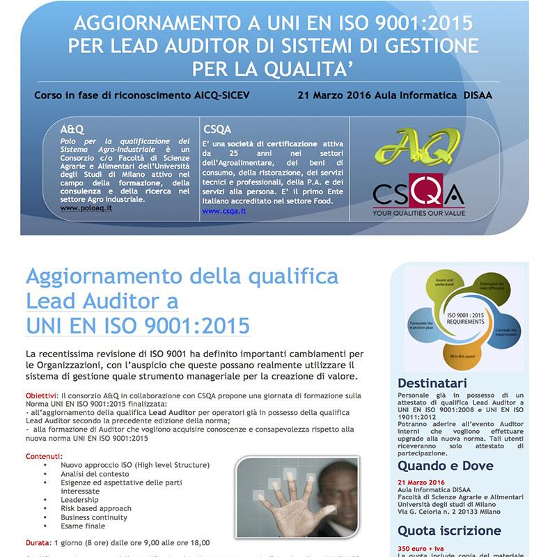 Aggiornamento a UNI EN ISO 9001:2015 per lead auditor di sistemi di gestione per la qualita'