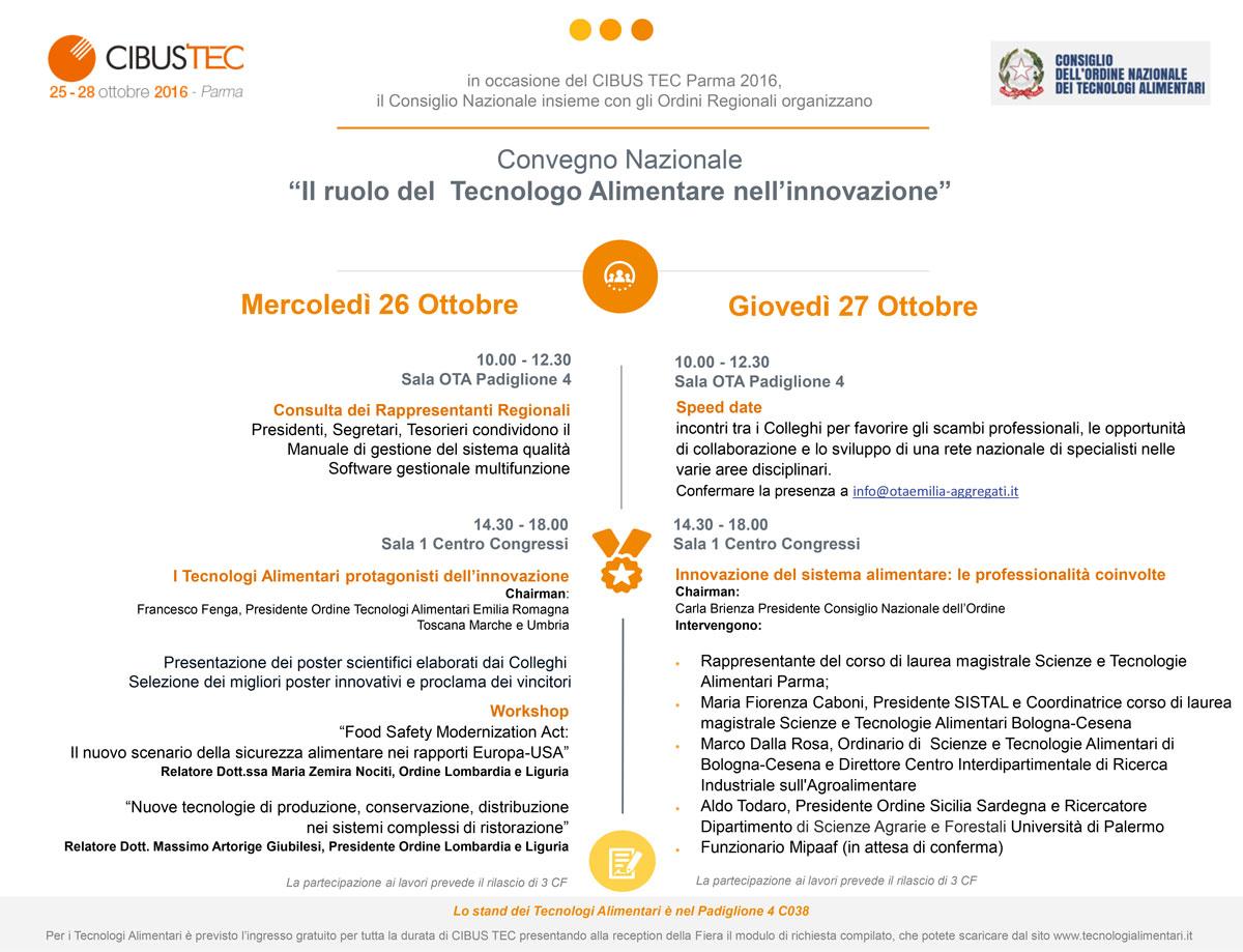 """Convegno Nazionale """"II ruolo del Tecnologo Alimentare nell'innovazione"""" a CIBUS TEC 2016"""